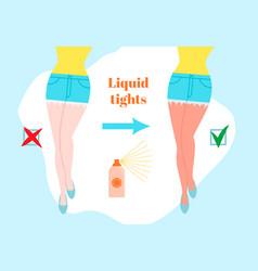 Liquid tights cartoon style concept before vector