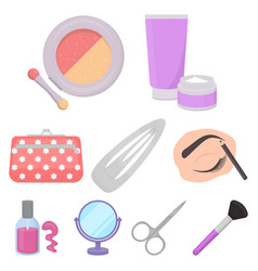 Make up set icons in cartoon style big collection vector