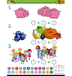 Maths addition educational game worksheet vector