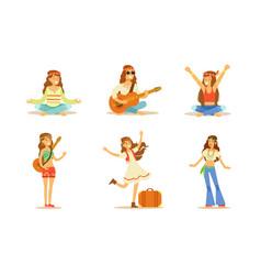 Men and women hippie characters set happy people vector