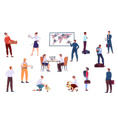 migrant workers icons set vector image