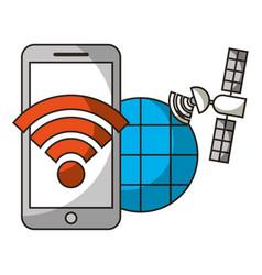 mobile internet satellite location autonomous car vector image