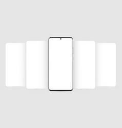 modern mobile phone mockup with blank app screens vector image