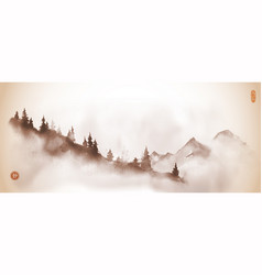 Mountain slope with pine trees in fog traditional vector