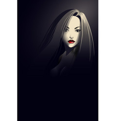Noir style young woman portrait vector