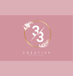 Number 33 3 logo design with golden circle vector