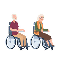 Old people disabled senior in a wheelchair vector