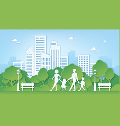 paper art family in park green city environment vector image