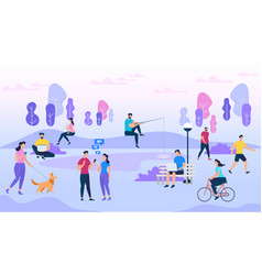 people crowd outdoors active men and women walk vector image