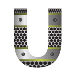 Perforated metal letter U vector