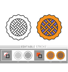 Pie linear icon coloring page vector