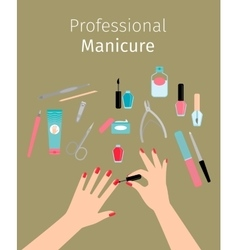 Professional Manicure poster with ladies hands vector