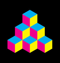 Pyramid of cubes in cmyk colors 3d vector