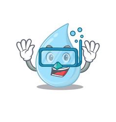 Raindrop mascot design concept wearing diving vector