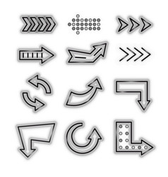 realistic detailed 3d neon arrow black icon set vector image