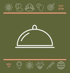 restaurant steel serving tray cloche line icon vector image