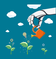 robot watering flower with gear vector image