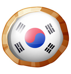 Round badge for korea flag vector
