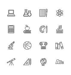 School subject learning - flat line icons vector