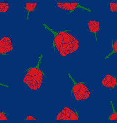 seamless colorful pattern of roses on a blue vector image