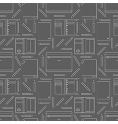 Seamless pattern with notebooks and pencils vector