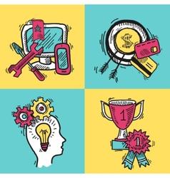 SEO internet marketing colored sketch set vector image