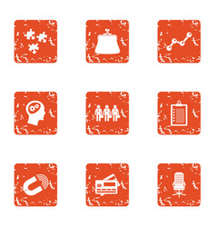 Service certificate icons set grunge style vector