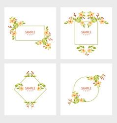 set cards with floral frames wedding ornament vector image