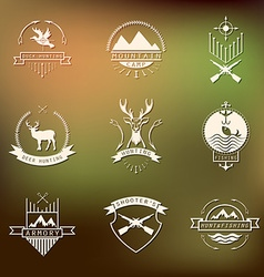 Set of camping and hunting logos Mountain vector image