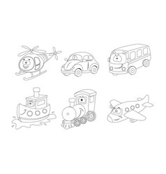 set of cartoon transport coloring book helicopter vector image