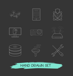 set of electronic icons line style symbols with e vector image