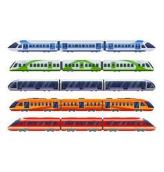 set railway transport trains subways metro vector image