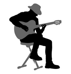 Silhouette musician plays the guitar on a white vector