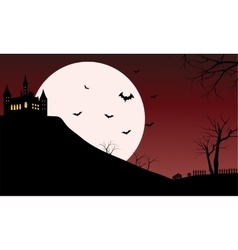 Silhouette of castle with full moon vector image