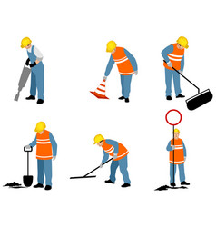 Six road workers vector