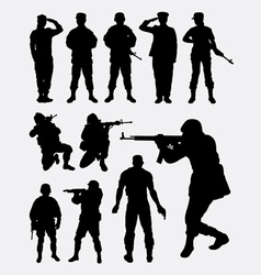 Soldier military silhouettes vector