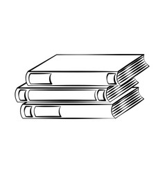stack books doodle on white background vector image