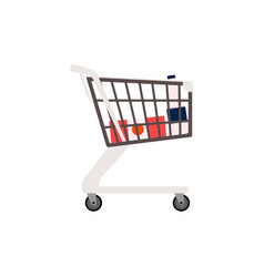 supermarket trolley cart with products vector image