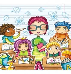 Teacher and children vector