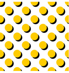 Tile pattern with yellow polka dots on white vector