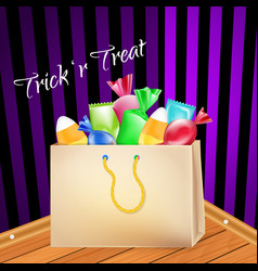 Trick-or-treat paper bag full goodies sweets vector