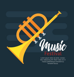 Trumpet musical isolated icon vector