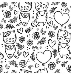 valentine cat day cartoon seamless pattern vector image