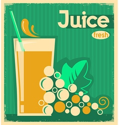 vintage poster of grape juice on old paper vector image
