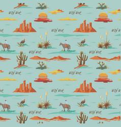 Vintage seamless desert pattern landscape cowboy vector