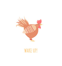 wake up concept with cute stylized rooster vector image