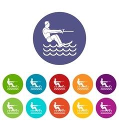 Water skiing man set icons vector