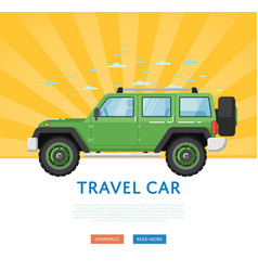 Website design with extreme travel car vector