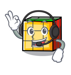 With headphone rubik cube mascot cartoon vector