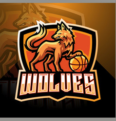 wolves esport mascot logo design vector image